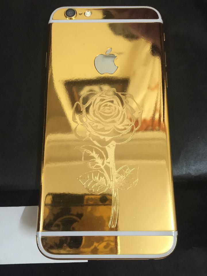 Điện thoại iphone 6 khắc hình hoa hồng mạ vàng