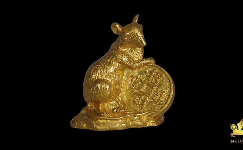chuột phong thủy mạ vàng