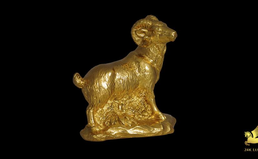 tượng dê phong thủy mạ vàng
