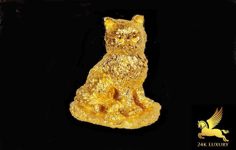 Tượng Mèo mạ vàng 24k tại Vina Gold Art