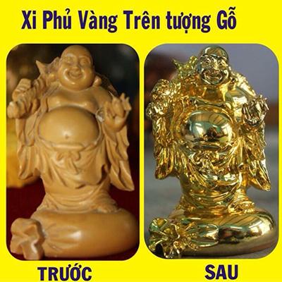 Tượng phật di lặc dát vàng tại Vina Gold Art