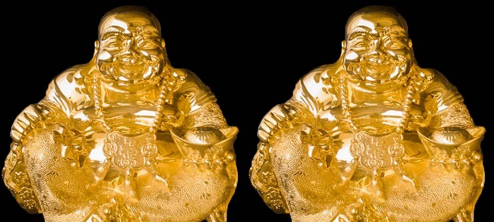 2 bức tượng phật di lặc dát vàng