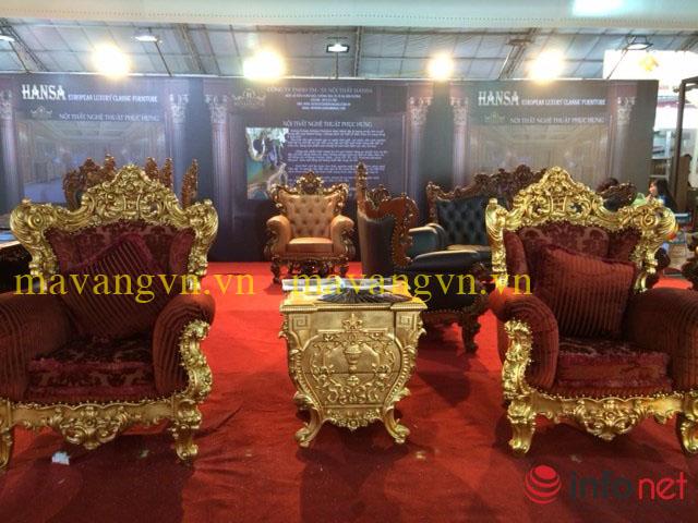 Bàn ghế bọc nhung mạ vàng