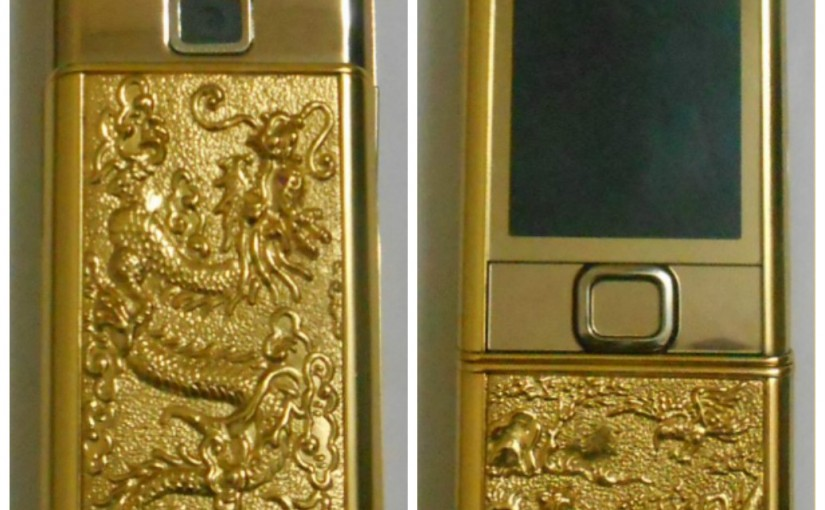 Điện thoại 8800 gắn hình rồng mạ vàng tại Vina Gold Art