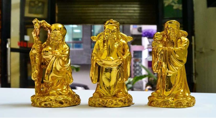 tượng phúc lộc thọ mạ vàng