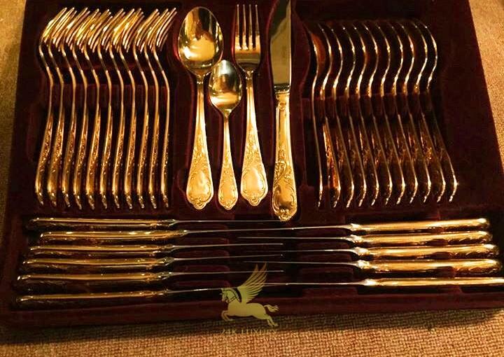 Bộ thìa dĩa mạ vàng 18k tại Vina Gold Art