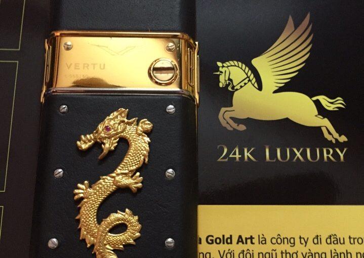 Điện thoại Vertu gắn rồng mạ vàng tại Vina Gold Art