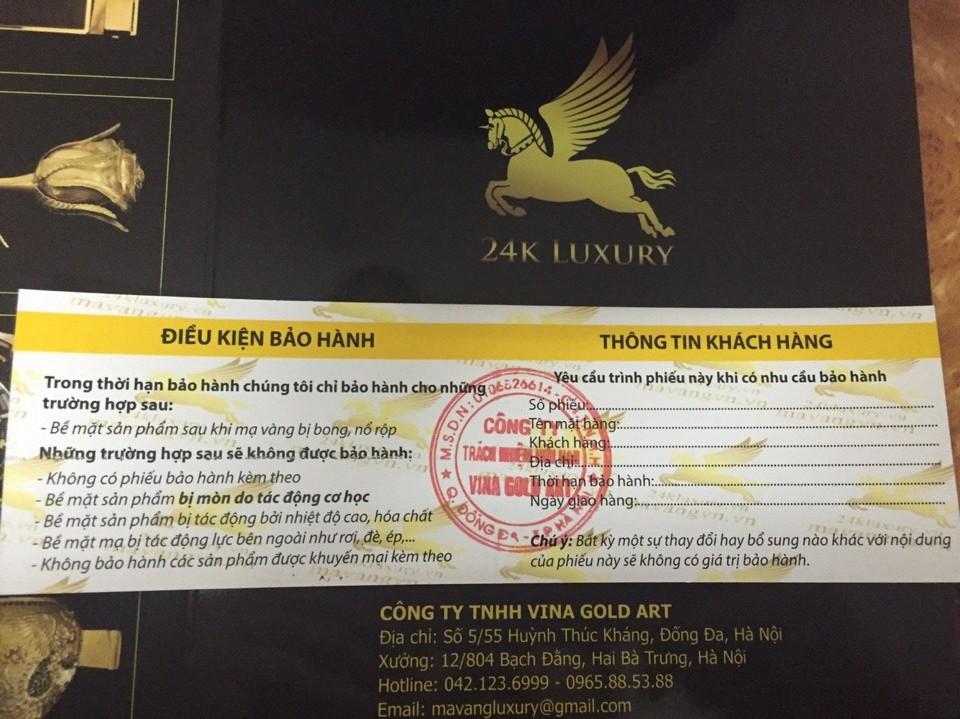 Phiếu bảo hành mạ vàng công ty TNHH Vina Gold Art