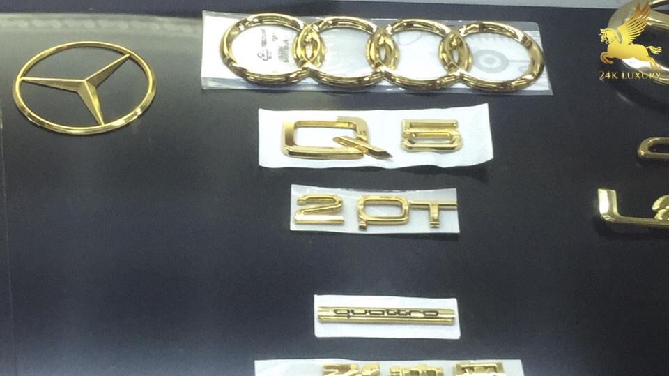 Bộ phụ kiện ô tô Audi mạ vàng 24k