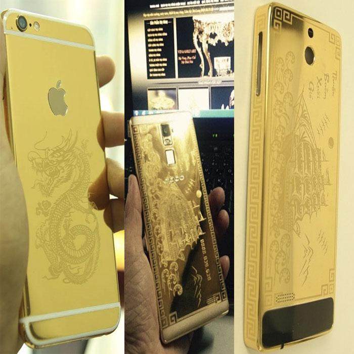 Bộ sưu tập các dòng điện thoại khắc hình mạ vàng tại Vina Gold Art