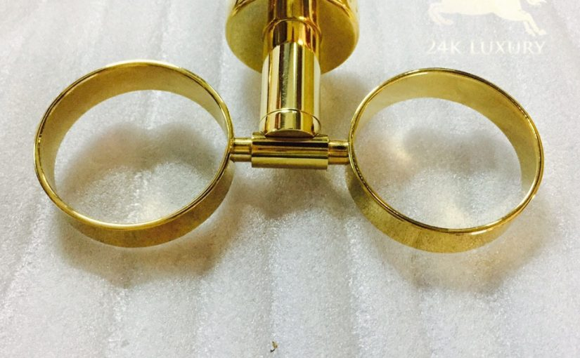 Kệ cốc đôi mạ vàng 24k tại Vina Gold Art