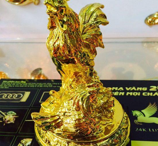 Gà trống phong thủy mạ vàng