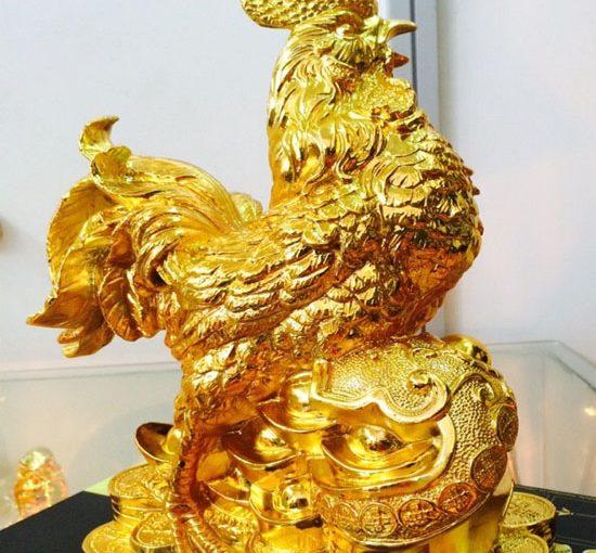 Tượng gà trống kim kê mạ vàng 24k