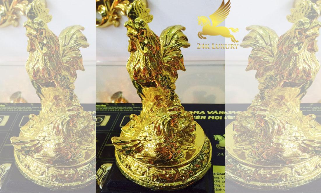 Tượng Gà sung túc mạ vàng- Vina Gold Art