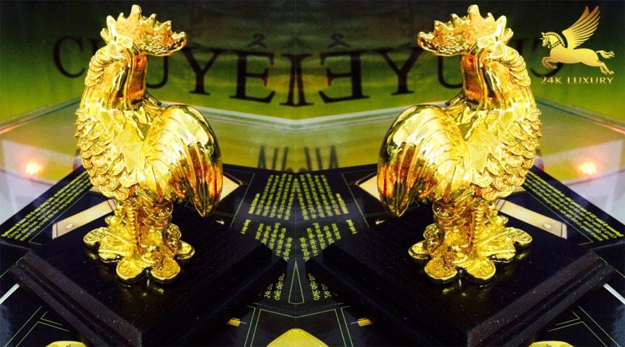 Tượng Gà phong thuỷ mạ vàng- Vina Gold Art
