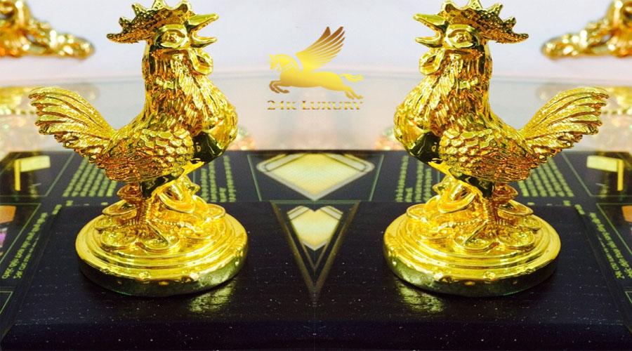 Tượng Gà tài lộc mạ vàng 24k tại Vina Gold Art
