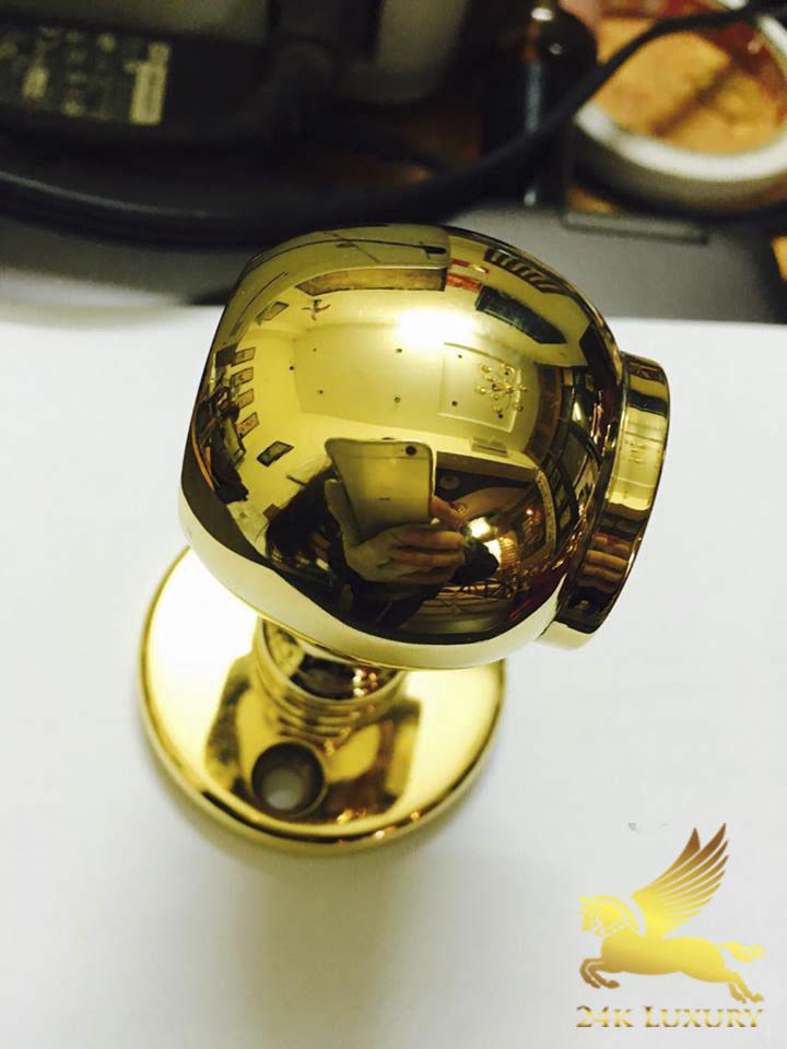 Khoá cửa tay nắm tròn mạ vàng 4k sáng bóng, ấn tượng