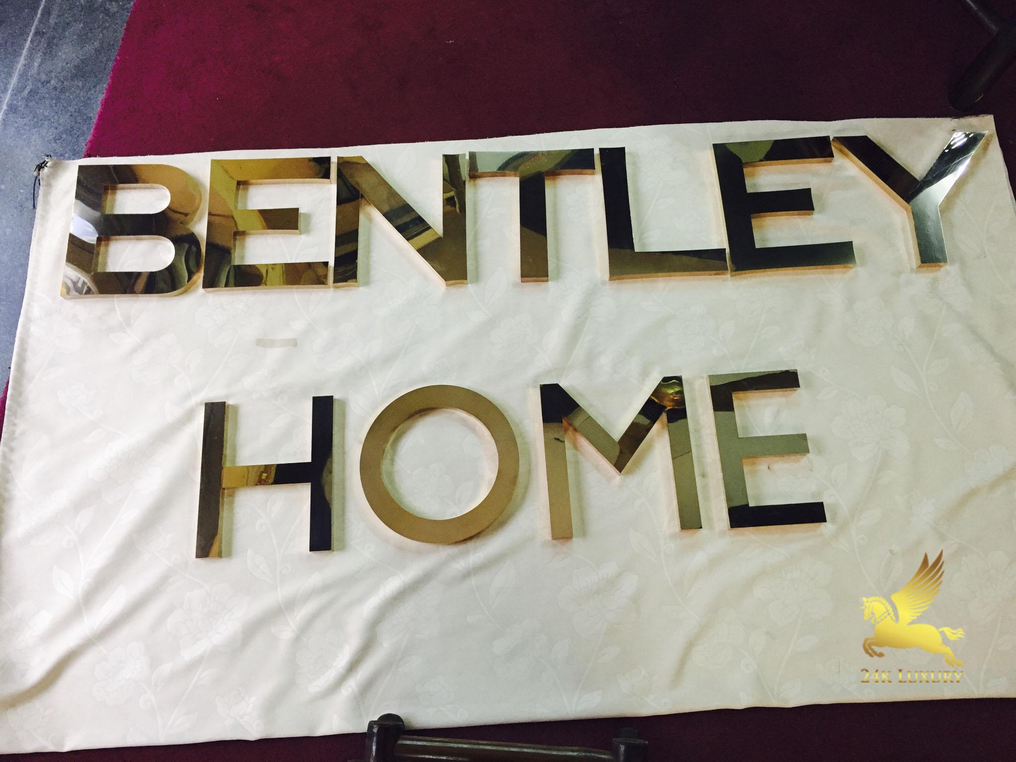 Bộ chữ Bentley Home sau khi được mạ vàng 24k