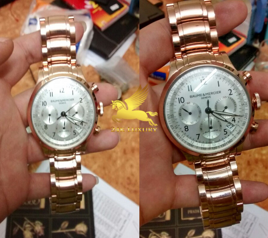 Chiếc đồng hồ Baume & Mercier Capland mạ vàng hồng là mokhông thể thiếu trong bộ sưu tập phụ kiện thời trang của phái mạnh