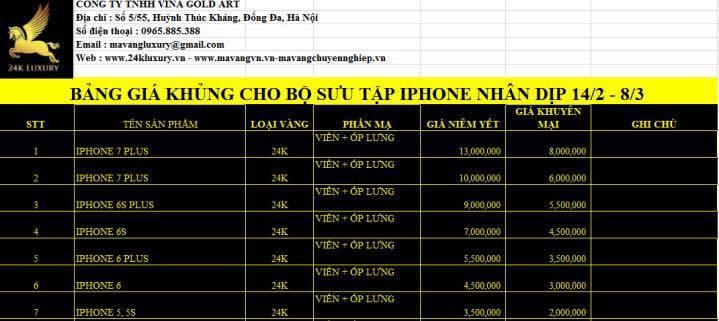 Bảng giá khuyến mại các dòng điện thoại nhân dịp ngày lễ Valentine và 8-3