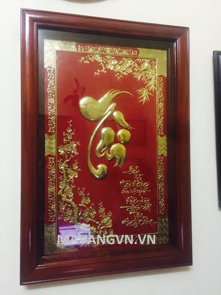 Tranh chu Tai thu phap ma vang 24k 4